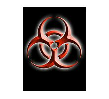 Biohazard symbol; Biological hazard; red black embossed by TOM HILL - Designer