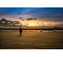 Another Place - Crosby Beach Iron Man at Sunset Photographic Print