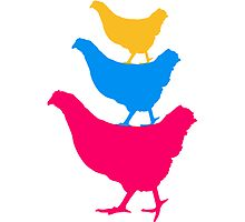 3 colorful stacked chicken by Style-O-Mat