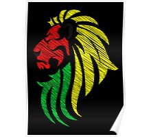 Lion Reggae Colors Cool Flag Vector Art  Poster