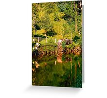Green life, a river and reflections | waterscape photography Greeting Card