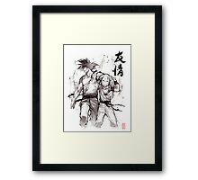 Dragon Ball Z Goku and Krillin with Calligraphy Friendship Framed Print