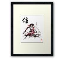 Ashley from Mass Effect 1 Sumi and Watercolor style Japanese calligraphy Faith Framed Print