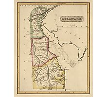 Antique Map of Delaware from c1817 Photographic Print