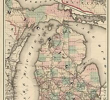 Antique Map of Michigan from 1876 by bluemonocle