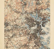 Vintage USGS Topographic Map of Boston, Massachusetts from 1903 by bluemonocle