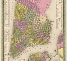 Antique Map of New York City from 1849 by bluemonocle