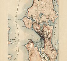 Vintage USGS Topographic Map of Seattle, Washington from 1894 by bluemonocle