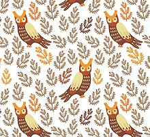 Cute owls in the autumn forest by sky-lantern