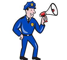 Policeman Shouting Bullhorn Isolated Cartoon by patrimonio
