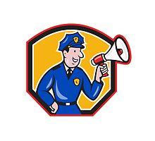 Policeman Shouting Bullhorn Shield Cartoon by patrimonio