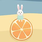 Cute bunny on orange by olarty