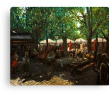 Beer garden at Viktualienmarkt Munich Canvas Print