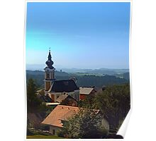 Village church, skyline and panorama | landscape photography Poster