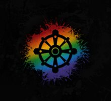 LGBT Buddhist Wheel of Dharma  by LiveLoudGraphic