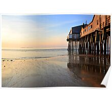 Pastel Sunrise at Old Orchard Beach Pier Poster
