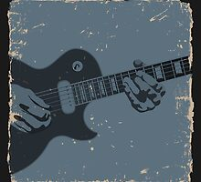 Blue & Black Rustic Guitar Player by Groovyfinds