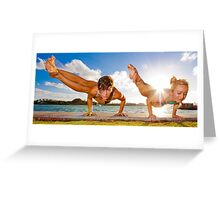 Dwi Pada Koundinyasana in Tandem  Greeting Card