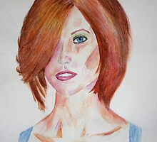 Red Haired Beauty with Blue Eyes Watercolor Portrait by ibadishi