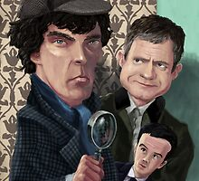 Sherlock Homes Watson and Moriarty at 221B by martyee