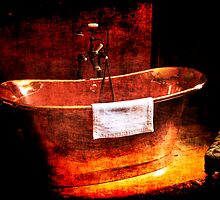 Copper Rolled-top bath tub by Chris L Smith