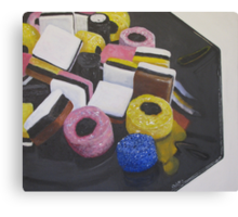 Liquorice Allsorts On Black Dish Canvas Print