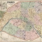 Antique Map of Paris, France from 1878 by bluemonocle