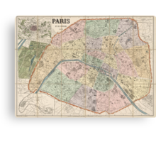 Antique Map of Paris, France from 1878 Canvas Print