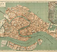 Antique Map of Venice, Italy from c1886 by bluemonocle