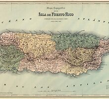 Antique Map of Puerto Rico from 1886 by bluemonocle