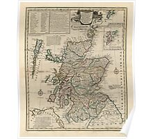 Antique Map of Scotland from 1752 Poster
