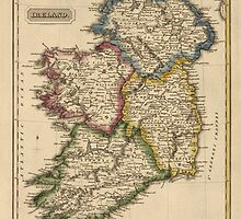 Antique Map of Ireland from c1817 by bluemonocle