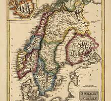 Antique Map of Norway, Sweden, and Finland from c1817 by bluemonocle