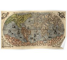 Antique Map of the World from 1565 Poster