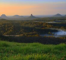 Sunrise Over the Glass House Mountains by Steve Bass