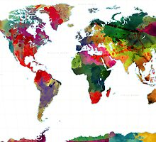 World Map Watercolor by Gary Grayson