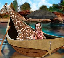 Girl with Cupcake on Boat with Giraffe by fairytaleart