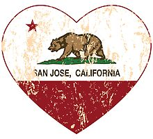 San Jose California Love Heart Distressed by NorCal