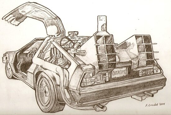 Delorean time machine Back to the future drawing by RobCrandall