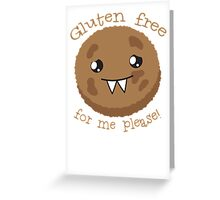 Gluten free for me please with cute kawai cookie monster Greeting Card
