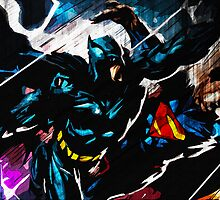 Batman VS Superman Textured Print by Colin Bradley