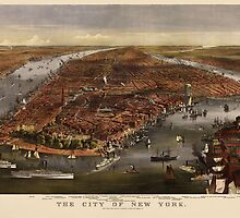 Antique Map of New York City by Currier and Ives from 1870 by bluemonocle