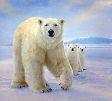 polar bear family by R Christopher  Vest