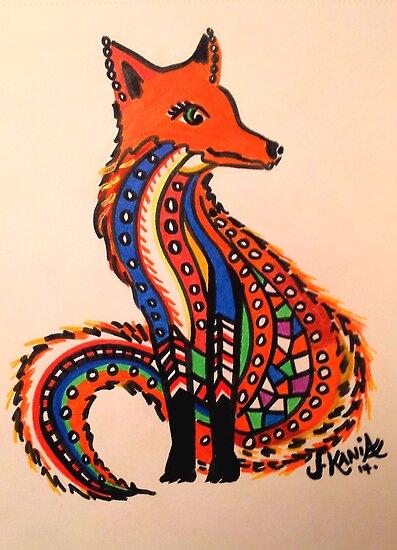 Patchwork Zentangle Fox by jonkania