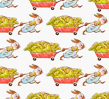 Red Wagon Rabbit Print by Hannah Joe