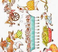 Bustling Bunnies iPhone Case by Hannah Joe