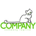 Green Eyed Cat/White Ready-Made Cat Business Logo by offleashart
