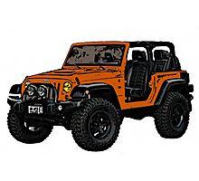 Two door orange Jeep wrangler Photographic Print