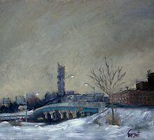 Camden Overpass In Winter by Monica Vanzant