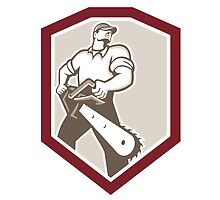 Lumberjack Arborist Holding Chainsaw Shield by patrimonio